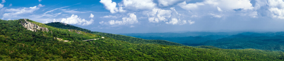 Panorama of stretch of Blue Ridge Parkway near Asheville, NC
