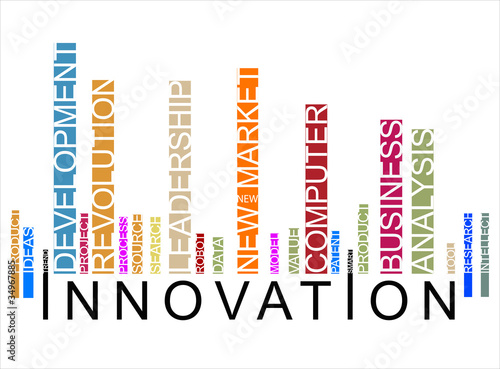 colorful INNOVATION text bar-code, vector