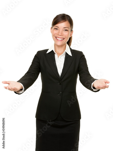 welcome gesture business woman