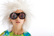 Child with wild wig and crazy glasses