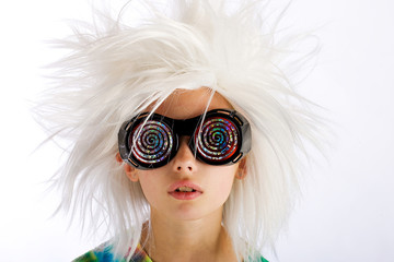 child with a funny wig and crazy eye glasses
