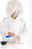 Mad Scientist Experimenting with Chemistry in a laboratory poster