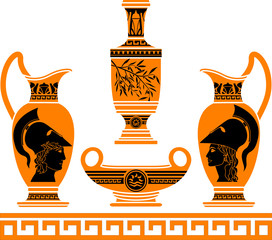 set of hellenic vases. stencils