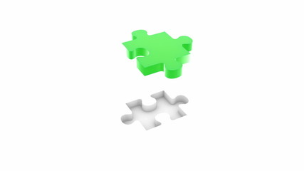 Jigsaw puzzle concept. 3d animation