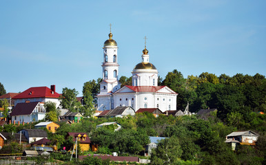 cathedral with bell tower in russia
