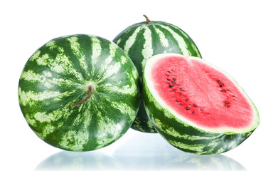 Two Whole watermelon and half isolated  on a white background