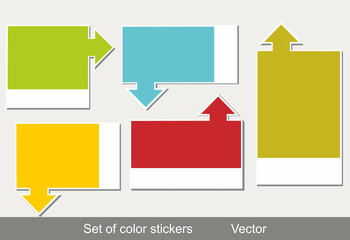 Multi-colored realistic stickers with a place for the text.