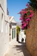 Narrow street in Lindos.Rhodes island, Greece