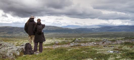 Wanderer in Norwegen (Dovrefjell Nationalpark)