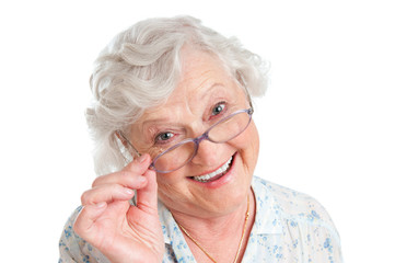 Satisfied senior woman with eyeglasses