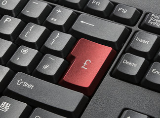 Red Key On Computer Keyboard Entitled £