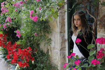 Outdoor portrait of a cute teen in summer