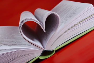 Book with a heart-shaped pages.