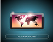 Stylized Plasma(LCD) TV With World Map Wallpaper on Screen