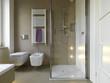 bagno moderno con doccia in muratura e vetro