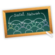 social network concept on the blackboard