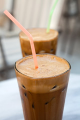 Frappes on a cafe table