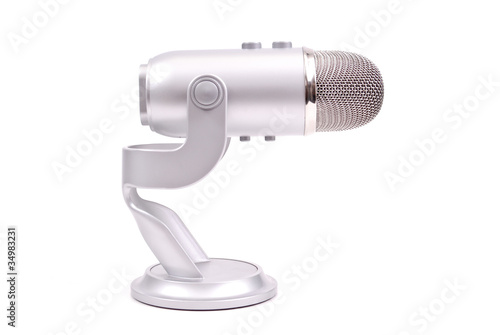 Professional Microphone Against White Background