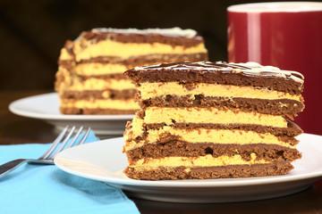 Peruvian lucuma cake with a chocolate dough