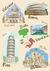 Italian sights in watercolours