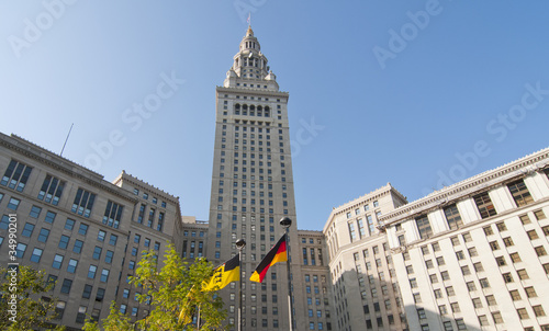 Terminal Tower in Cleveland Ohio with German flags