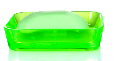 green soap dish and soap isolated on white