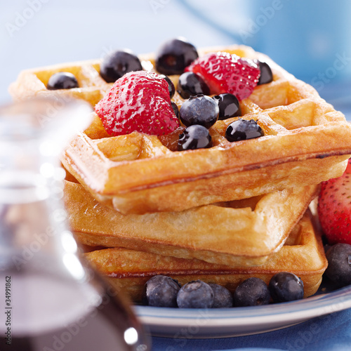 blueberry waffles with strawberries