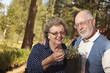Gardening Senior Couple Overlooking Potted Plants