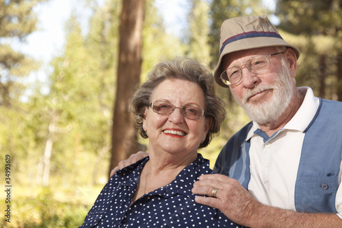 Loving Senior Couple Outdoors Portrait