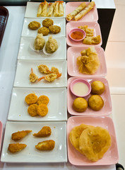 Many types of fried food.