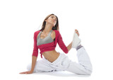 Pretty flexible dancer woman sit on half twine and stretching poster