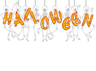 Halloween Scheletro Sfondo-Cartoon Skeleton Background-Vector