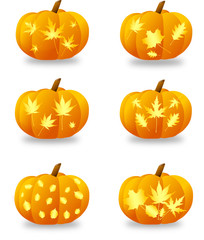 Halloween pumpkins with a leaf pattern