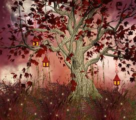 Collina fiabesca e albero con lanterne