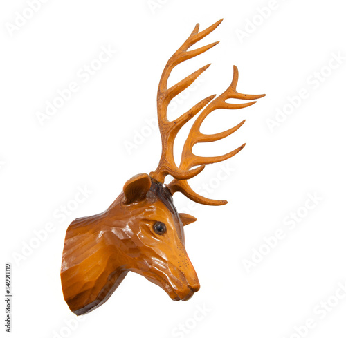 The deer wood vintage object on white background