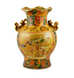 Chine vase gold on the white background