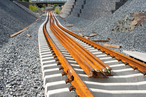 Railway construction site in Vuosaari, Finland