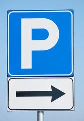 parking sign on blue sky background