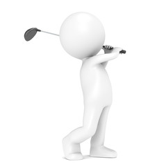 3D little human character Playing Golf. People series.