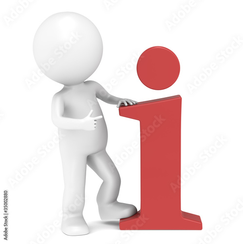 3D little human character pointing at an info icon.