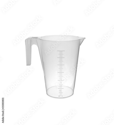 Plastic measuring cup; isolated, clipping path included