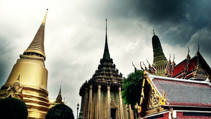 Golden buildings of grand palace temple in Bangkok