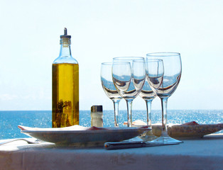 served table on quay of the Mediterranean sea