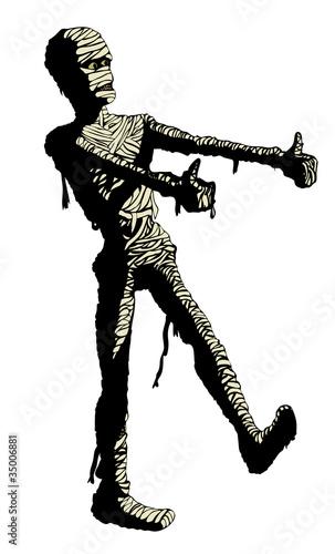 Egyptian mummy dances in his bandages. Clip art : Fotolia