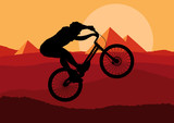 Mountain bike trial rider in wild nature landscape illustration
