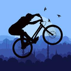 Mountain bike trial rider in arabic city landscape illustration