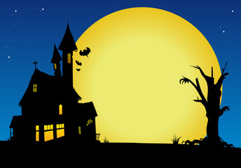 Haunted house with full moon and dead tree