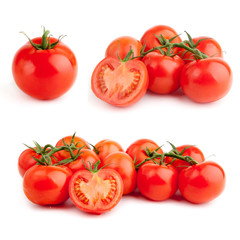set of red tomato isolated on white background