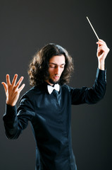 Music concept with passionate conductor