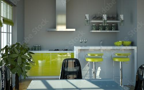 wohndesign k che gr n grau stockfotos und lizenzfreie bilder auf bild 35012451. Black Bedroom Furniture Sets. Home Design Ideas
